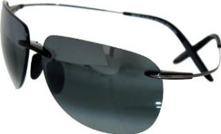 Maui Jim HT527 11 Black Gunmetal Nakalele Rimless Sunglasses Polarised Driving Clothing