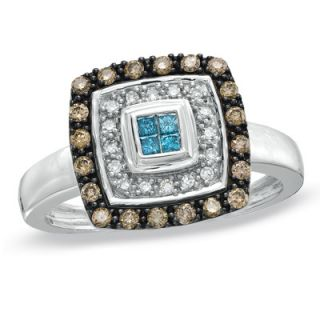 CT. T.W. Champagne, White and Enhanced Blue Diamond Square Ring in