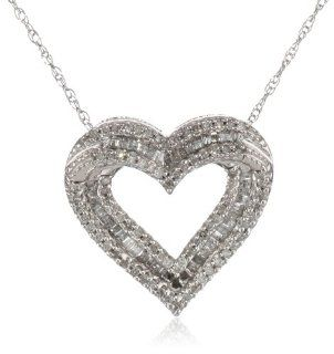 "10k White Gold Diamond Heart Pendant Necklace (1/2 cttw, I J Color, I2 I3 Clarity), 18"" Jewelry"