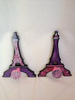 Hot Pink and Purple and Black Zebra Print Paris Theme Wall Pegs Eiffel Tower Paris Room Decor Girls Room Decor Paris Wall Decor   Childrens Wall Decor