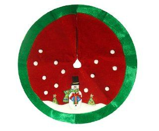 "20"" Red and Green Cheery Snowman Mini Christmas Tree Skirt"