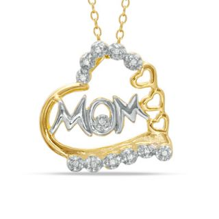 Two Tone Diamond Accent Heart MOM Pendant in Sterling Silver with