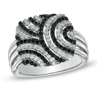 CT. T.W. Enhanced Black and White Diamond Retro Style Ring in