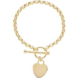 14 Karat Yellow Gold Heart Charm Rolo Bracelet Diamond Designs Jewelry