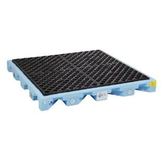 "New Pig PAK550 LDPE Plus Modular Spill Deck, 6000 lbs Load Capacity, 52"" Length x 52"" Width x 5 3/4"" Height, Black/Blue Science Lab Spill Containment Supplies"