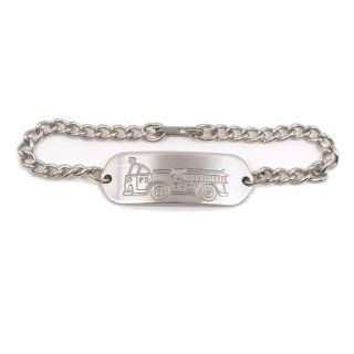 Non Allergenic Stainless Steel Fire Truck Child ID Bracelet IDB 04 Health & Personal Care