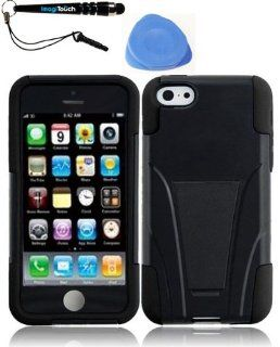 IMAGITOUCH(TM) 3 Item Combo iPhone Lite T Stand Cover   Black+Black (Stylus pen, Pry Tool, Phone Cover) Cell Phones & Accessories