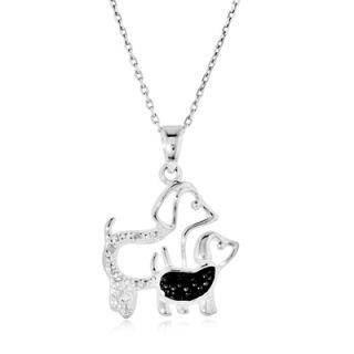Enhanced Black and White Diamond Accent Motherly Dog Pendant in
