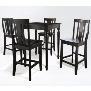 5 Piece Counter Height Pub Set Finish Black   Dining Room Furniture Sets