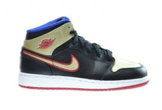 Air Jordan 1 Mid BG Big Kids Basketball Shoes Black/Gym Red Metallic Gold Gym Royal 554725 013 Shoes