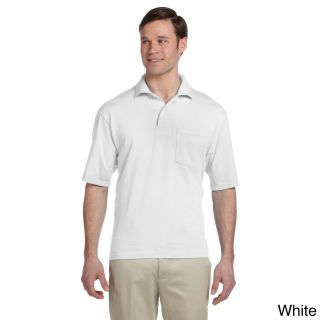 Jerzees Jerzees Mens Clean finished Pocket Polo Sport Jersey White Size XXL