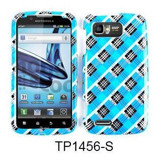 CELL PHONE CASE COVER FOR MOTOROLA ATRIX 2 MB865 TRANS BLUE BLACK PLAID Cell Phones & Accessories