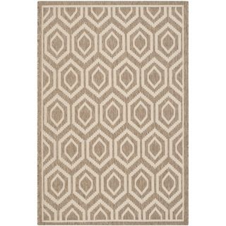 Machine made Safavieh Indoor/ Outdoor Courtyard Brown/ Bone Rug (4 X 57)