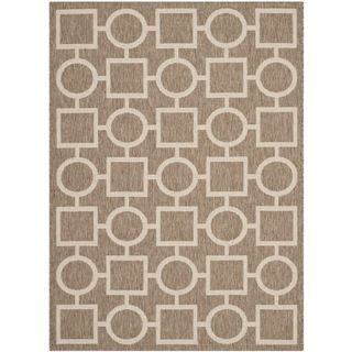 Safavieh Indoor/ Outdoor Courtyard Brown/ Bone Polypropylene Rug (53 X 77)
