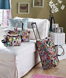 3 Piece Luggage Set   Circles (Rolling Duffel Bag, Tote & Toiletry Bag)   Luggage Racks