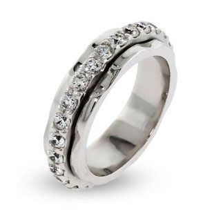 Sterling Silver Spinner Ring with CZ Band Spinner Rings For Women Jewelry