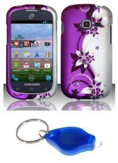 Purple and Silver Vines Design Shield Case + Atom LED Keychain Light for Samsung Galaxy Discover S730G (Net10, Tracfone, Straight Talk) Cell Phones & Accessories
