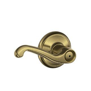 Schlage F40FLA609 Flair Privacy Lever, Antique Brass   Door Levers