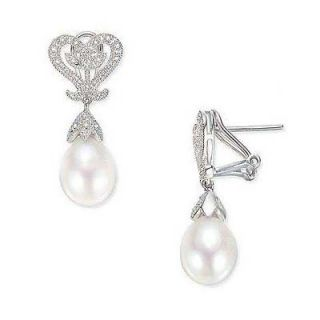Drop Cultured Freshwater Pearl and Diamond Heart Earrings in 10K White