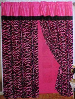 A Pair of Pink / Black Zebra Design Window Curtain / Drapes   Window Treatments
