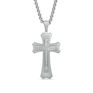 Mens 1/7 CT. T.W. Diamond Stacked Cross Pendant in Stainless Steel