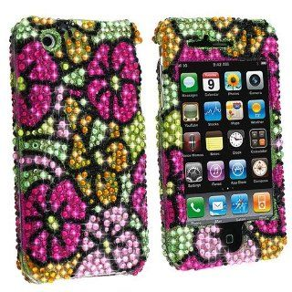 Full Diamond Rhinestone Pink Yellow Flower On Green Premium Design Snap on Protector Hard Cover Case for Apple iPhone 3G, 3GS 3G S (AT&T) Cell Phones & Accessories