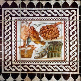 """Roman Food "", Rome Ancient Art   Tumble Marble Mural 16""W x16""H(4x4), Kitchen Shower Bath Backsplash   Decorative Tiles"