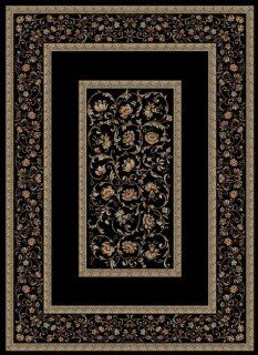 "Concord Global Rugs Ankara Collection Floral Border Black Runner 2'2"" x 7'3"" Area Rug   Machine Made Rugs"