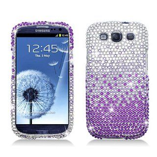 Purple Silver Waterfall Bling Gem Jeweled Crystal Cover Case for Samsung Galaxy S3 S III Cell Phones & Accessories
