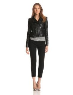BCBGMAXAZRIA Women's Vaughn Leather Jacket, Black, Small