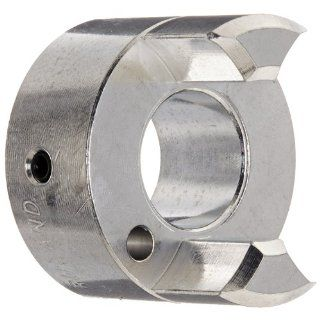 "Ruland JS21 10 A Jaw Coupling Hub, Set Screw Style, Polished Aluminum, .625"" Bore, 1 5/16"" OD, 1 3/4"" Length Spider Couplings"