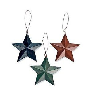 Tin Star Ornaments   Set of 3  Christmas Ornaments