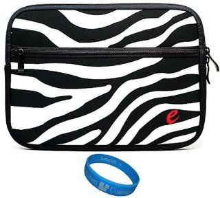 "Black White Zebra Neoprene Sleeve Protective Carrying Case Cover for Sungale ID1010WTA Cyberus Android 10.1 Inch Tablet Computer / 10.1"" Flytouch3 Android 2.3 Infotmic X210 / 10"" SYTAB10MT / 10"" SYTAB10ST / Ematic eGlide XL 10 Inch Touch Scr"