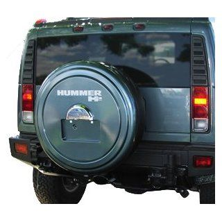 Hummer H2 Rigid Tire Cover   Color Matched   (Hard Plastic Face w/ Fabric Vinyl Band)   Fits 2005 2010 Models With Factory Spare Tire Mounted License Plate   Pacific Blue Automotive