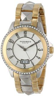 Akribos XXIV Women's AK654TTG Impeccable Swarovski Crystal Accented Gold Tone and Silver Tone Pyramid Stainless Steel Bracelet Watch Watches