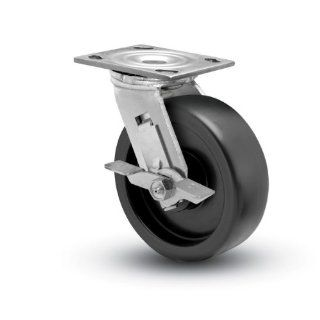 "Shepherd Prism Series 6"" Diameter Polyolefin Wheel Swivel Caster with Tread Brake, 4 1/2"" Length x 4"" Width Plate, 650 lbs Capacity, Stainless Steel Finish Stem Casters"