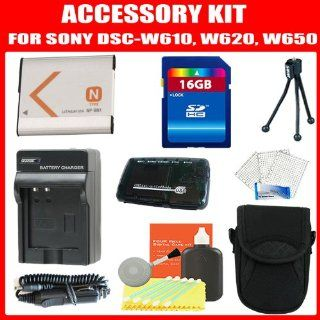 Accessories Kit For Sony Cyber Shot DSC W650, DSC W620, DSC W610 Digital Camera Includes 16GB High Speed Memory + NP BN1 Extended Replacement Battery + AC/DC Travel Charger + USB 2.0 Reader + Deluxe Case + Screen Protectors + More  Camera & Photo