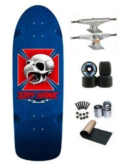 Powell Peralta Bones Brigade Tony Hawk Blue Re Issue Old School Skateboard Deck Complete 169mm Independent Trucks Black Hosoi Rocket Wheels 61mm Abec 7 Bearings  Sports & Outdoors