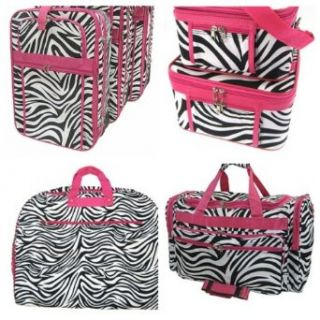 7 Piece Pink Trim Zebra Print Luggage Set   3 Suitcases, Garment Bag, 2 Toiletry Cases & Duffle Bag Clothing