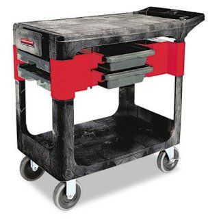 Rubbermaid Commercial Trades Cart, 2 Shelf, 330 Pounds Capacity, 19 1/4 x 38 x 33 3/8, Black (618000BLA) Service Carts