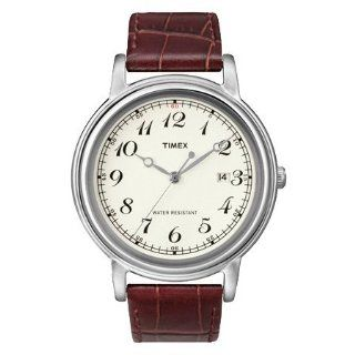 Timex Unisex Classics Series Cream Dial Stainless Steel Case Brown Leather Strap Watch T2N665 at  Men's Watch store.