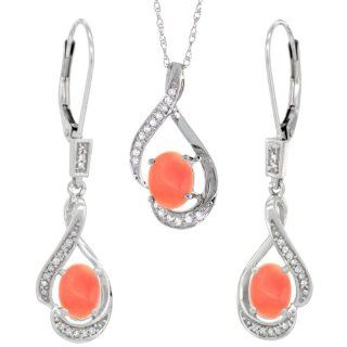 14K White Gold Natural Coral Lever Back Earrings & Pendant Set Diamond Accent Jewelry