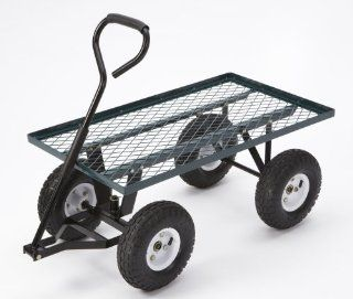 Farm & Ranch FR100F Steel Flatbed Utility Cart with Padded Pull Handle and 10 Inch Pneumatic Tires, 300 Pound Capacity, 34 Inches by 18 Inches, Green Finish  Yard Carts  Patio, Lawn & Garden