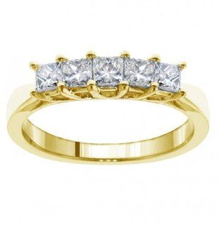 1.00 CT TW 5 Stone Princess Cut Braided Prongs Anniversary Wedding Ring in 18k Yellow Gold Jewelry