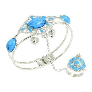 Rhombus Design Light Blue Beads Decor Finger Ring Bracelet Jewelry