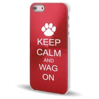 Apple iPhone 5 5S Rose Red 5C677 Aluminum Plated Hard Back Case Cover Keep Calm and Wag On Paw Print Cell Phones & Accessories
