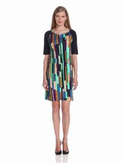Evolution by Cyrus Women's Elbow Sleeve Boat Neck Dress with Tile Print, Night City, Large
