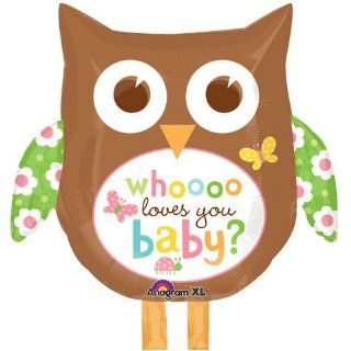Whooo Loves You Baby Owl Super Shape Foil Balloon (1 per package) Toys & Games