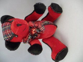 Christmas Teddy Bear Red, Plaid, Black Fancy Trim Toys & Games