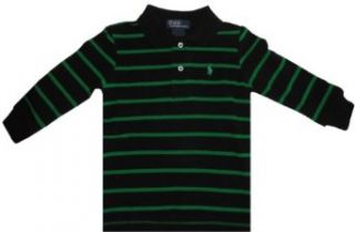 Polo Ralph Lauren Infant Boys Long Sleeve Shirt Black w/Green Stripes, 18 Months Boys Long Sleeve Button Up Polo Clothing